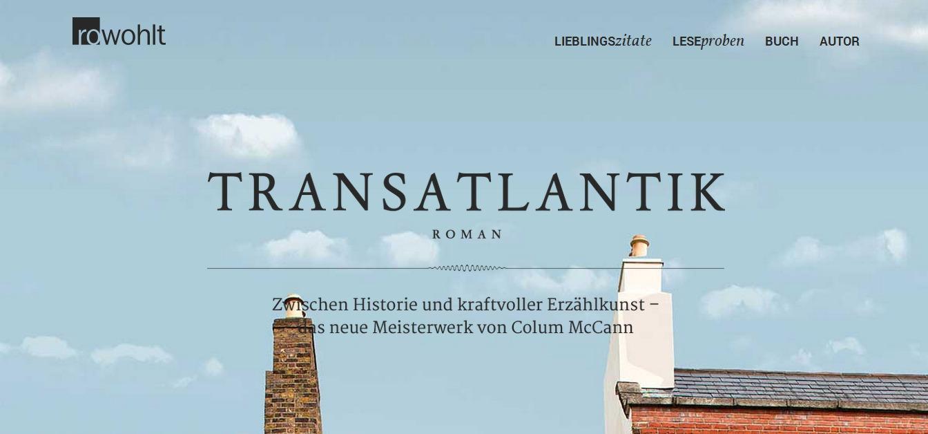 "Screenshot der Microsite zum Roman ""Transatlantik"""