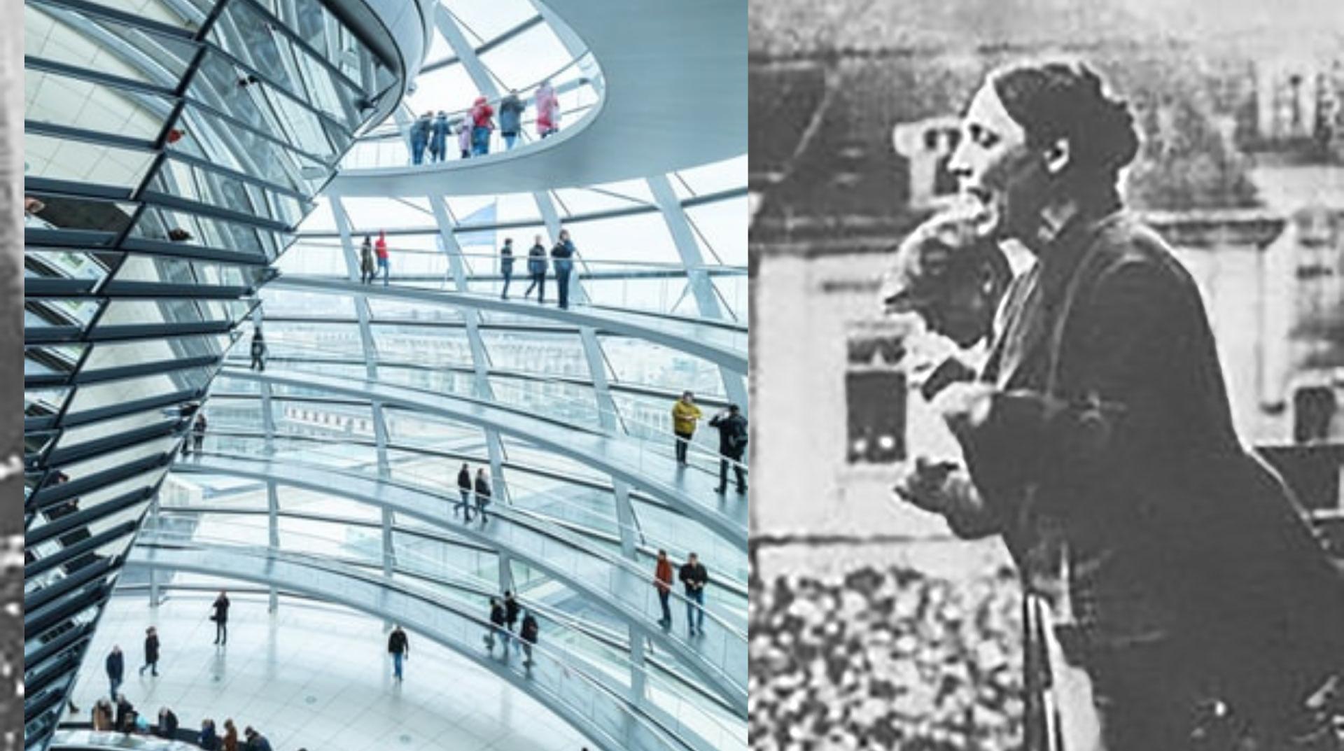 Collage: Reichtagskuppel Marie Juchacz
